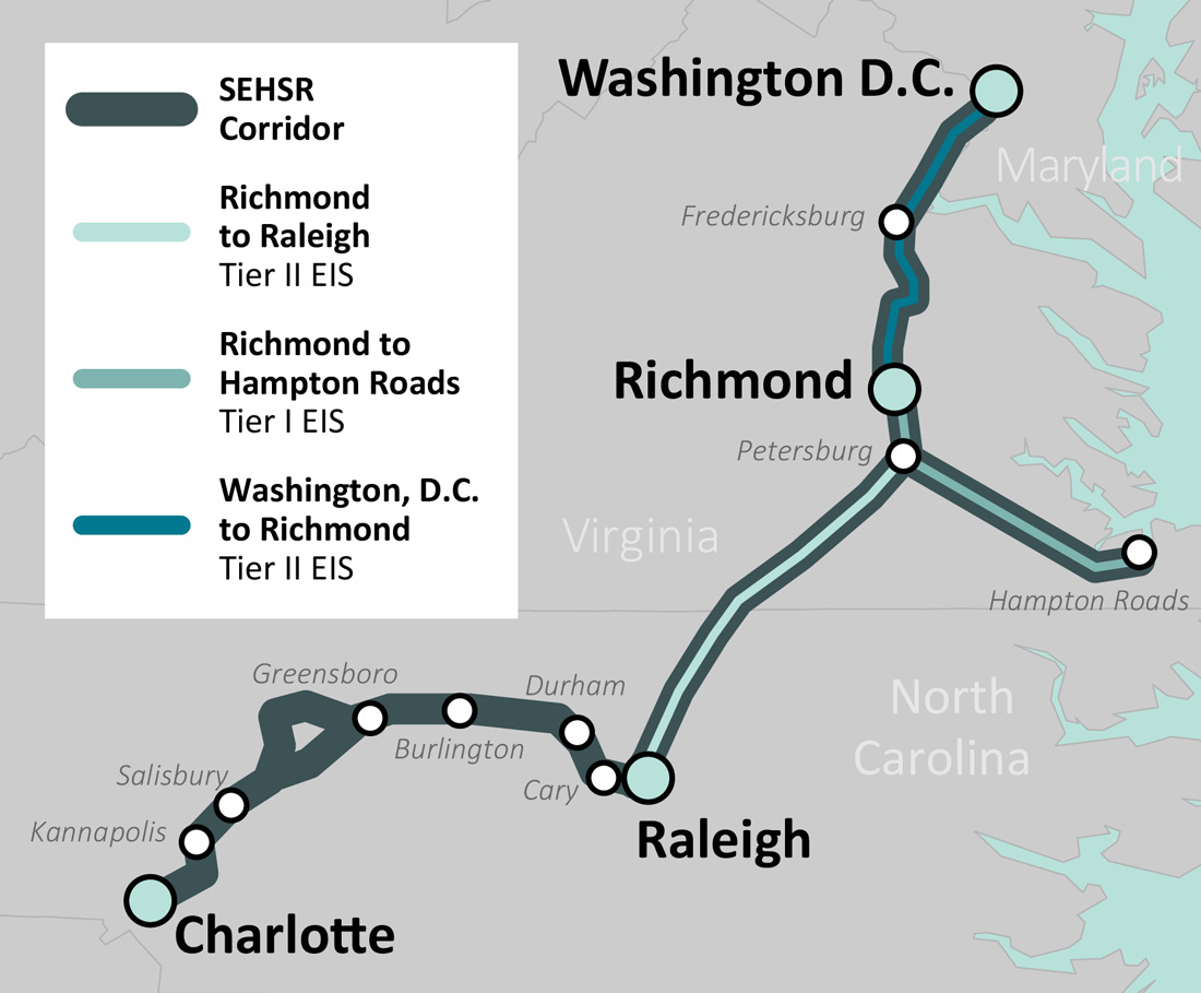 Southeast High Speed Rail Regional Corridor Map
